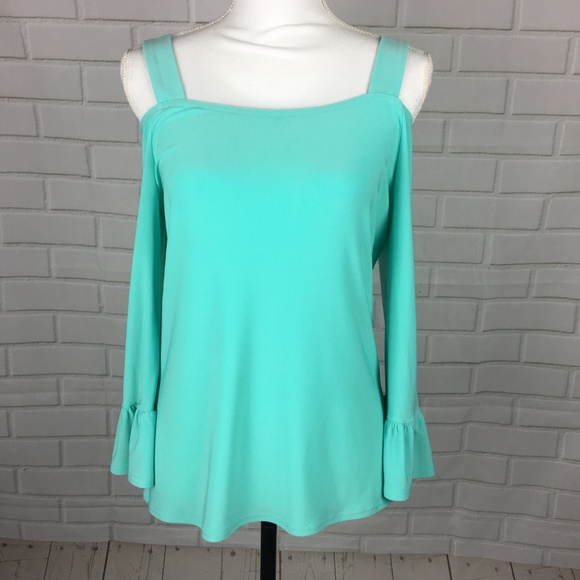 Cartise Tops - Cartise Seafoam Cold Shoulder Flared Ruffle Top